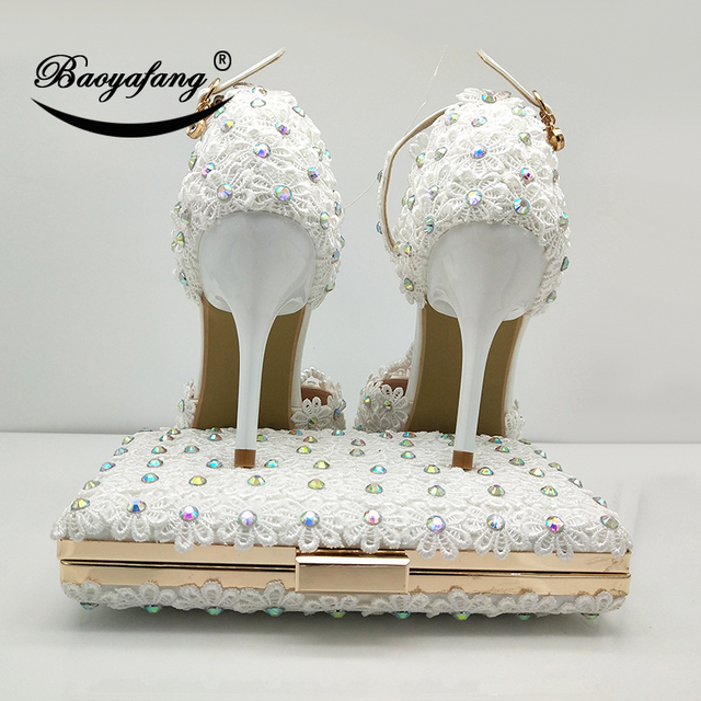 White Women Wedding Shoes With Matched Purse | High Heel Shoes