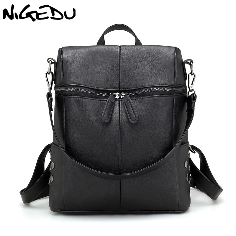 NIGEDU Brand fashion rivet Backpack Women PU Leather Backpacks For Teenage Girls School Bags Shoulder Bag for female mochila nigedu women backpacks soft leather shoulder bag women s backpack school bags for teenagers girls mochila female travel bags