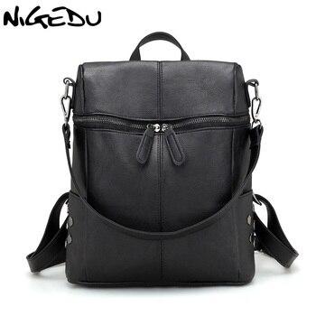 NIGEDU Brand fashion rivet Backpack Women PU Leather Backpacks For Teenage Girls School Bags Shoulder Bag for female mochila