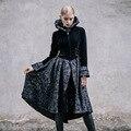 Diablo moda invierno mujeres flare tejido flocado de manga falda de capa de la chaqueta negro punk palace chaquetas sin capucha plus ropa