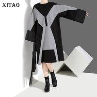 [XITAO] New Arrival Autumn Original Europe Fashion Female Contrast Color Loose Long Sleeve O collar Knee Length Dress HJH1035