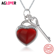 купить 925 Sterling Silver Heart Necklace Woman Charm 18 Inches Silver Box Chain AAA Crystal Key Pendant Necklace Fashion Jewelry в интернет-магазине