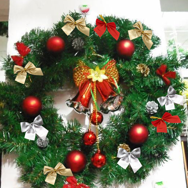 pretty bow xmas ornament diy christmas tree decoration wedding festival party home bowknots baubles baubles new