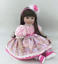 22 inch 55 cm Silicone baby reborn dolls, lifelike doll reborn babies toys Beautiful long hair girls Festival gift dolls