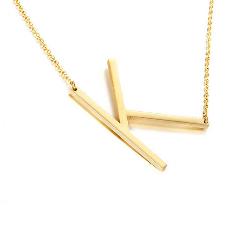 Alphabet Letter Large Sideways Initial Necklace for Women Gold Silver Color Stainless Steel Simple Choker Necklace Girls NL2649
