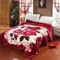 Роскошные цветы красные двухсторонние зимние толстые Raschel одеяла двойной Полный Queen размер простыня полиэстер 2020