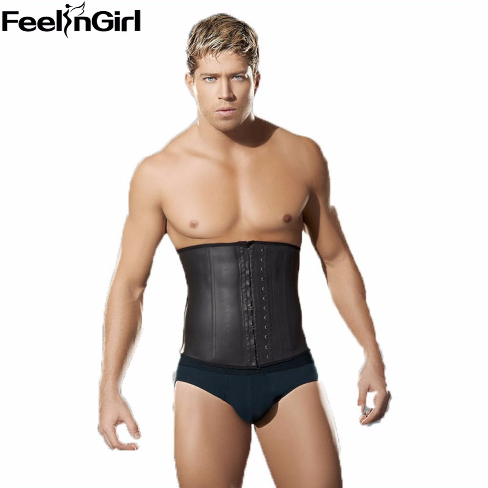 77f06fae94ff4 Latex Waist Trainer Vest Men Black Waist Cincher Firm Control Tummy ...