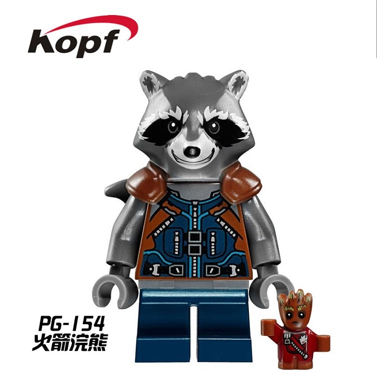 20Pcs PG154 Building Blocks Rocket Raccoon Mantis Gamora Guardians of the Galaxy Super Heroes Bricks Model Toys for children