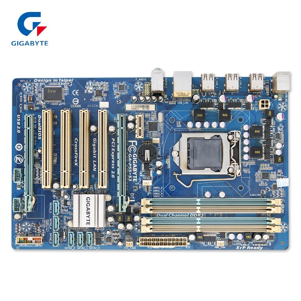 Gigabyte GA-P55-S3 Original Used Desktop Motherboard P55-S3 P55 LGA 1156 i3 i5 i7 DDR3 16G ATX p55 gd55 p55 all solid state luxury board 1156 motherboard support i5 i7