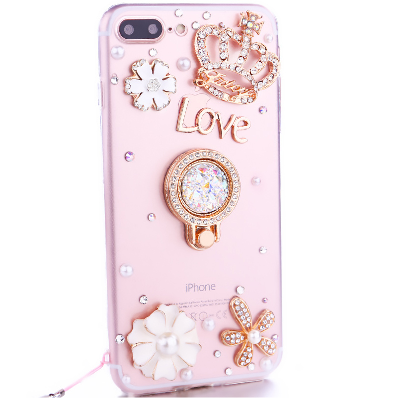 For iPhone 8 Diamond Case, Luxury Lady Fashion Pearl Rhinestone Jewelled Cover Case For iPhone 8 Plus 6s 7 Plus X With Lanyard