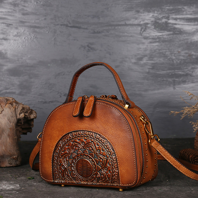 Nuleez genuine cowhide women bag Chinese Vintage half-moon totes and cross-body bag 2018 autumm and winter