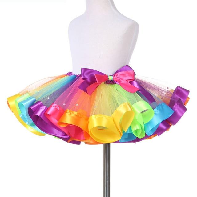 e245a2617 Baby Girls Rainbow Tutu Skirt Kids Tulle Skirt Children Baby Tutus ...