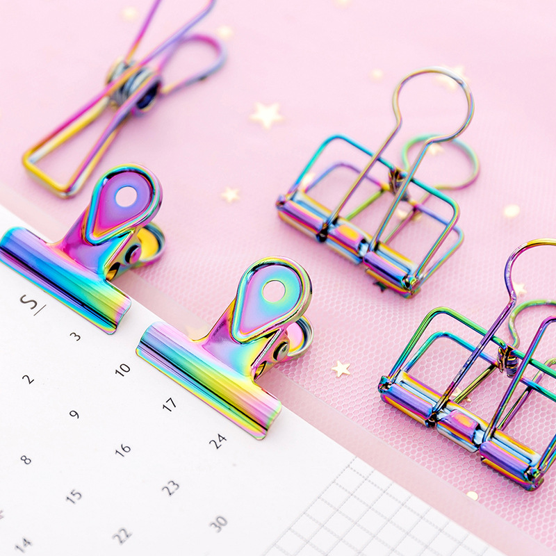 3Pcs/lot Creative Gradient Laser Colored Paper Clips Hollow Metal Binder Clip Spring Clip Kawaii Clamp Office Stationery Supplie