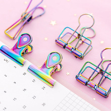 3Pcs/lot Creative Gradient Laser Colored Paper Clips Hollow Metal Binder Clip Spring Kawaii Clamp Office Stationery Supplie