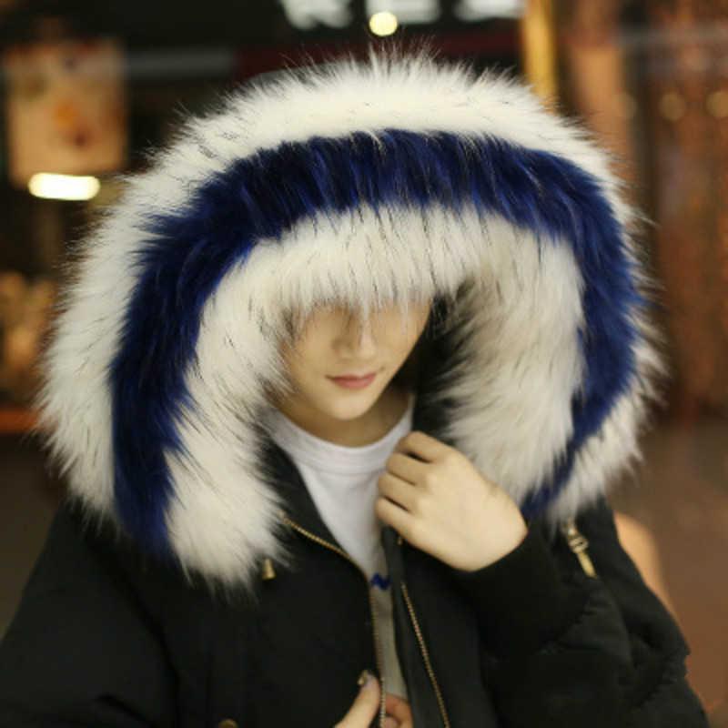 Coloré faux renard fourrure vison col écharpe pour femmes femme moelleux grande taille chaud manteau grande capuche col hiver cou plus chaud bleu rouge