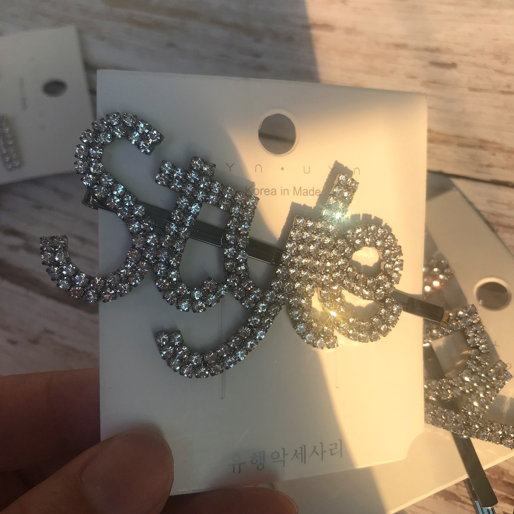 New Design Shiny Rhinestone Love Lady Style Letters Hair Clips For Women Hair Accessories Barrette Style Hairpins Jewelry Hot in Hair Jewelry from Jewelry Accessories