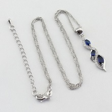 Green Blue Cubic Zirconia 925 Silver Jewelry Sets For Women, Necklace Pendant Earrings Ring Bracelet Free Gift Box
