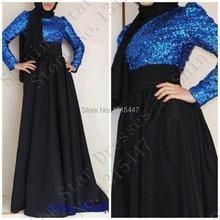 New Muslim Black Long Sleeve Evening Dress Dubai Kaftan Royal Blue Sequin Long Prom Dresses With Hijab Robe De Soiree 2017