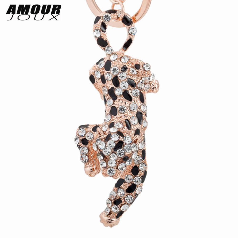 AMOURJOUX Trendy Animale Pendant Key Chains For Women Men Athletic Leopard Charms Gold Keyrings Car Keychains Key Chain Gift