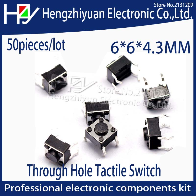 Hzy 6x6x4 3MM 4PIN Tactile Tact Push Button Micro Switch Direct Plug in Self reset DIP Top Copper Through Hole Tactile Switch in Switches from Lights Lighting