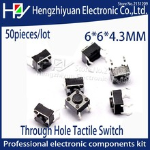 Hzy 6x6x4.3MM 4PIN Tactile Tact Push Button Micro Switch Direct Plug-in Self-reset DIP Top Copper Through Hole Tactile Switch стоимость