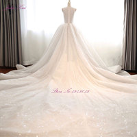 Real Photos Luxury Royal Train With Sequined Tulle A Line Wedding Dress Deep V Neck Beading