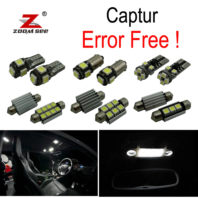 8pcs <font><b>LED</b></font> license plate lamp For <font><b>Renault</b></font> <font><b>Captur</b></font> 2013-2017 Error Free Car <font><b>LED</b></font> bulbs Interior Reading dome map trunk Light Kit image