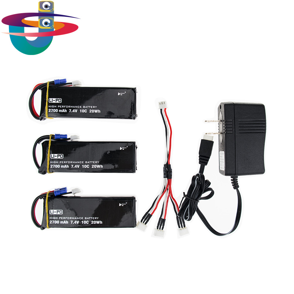 H501S X4 7.4V 2700mah lipo battery 10C 3pcs and charger US plug set EC2 for Hubsan H501C rc Quadcopter Airplane drone Parts accessories battery charger for quacopter 3 pc black 7 4v 2700mah 10c battery with ec2 plug for hubsan h501s x4 jy4