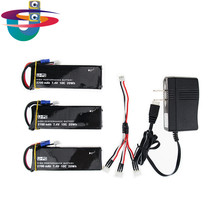 H501S X4 7.4V 2700mah lipo battery 10C 3pcs and charger US plug set EC2 for Hubsan H501C rc Quadcopter Airplane drone Parts