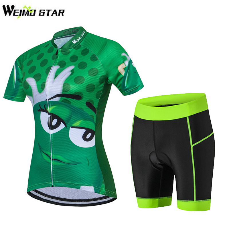 WEIMOSTAR Green Ropa Ciclismo Women's Cycling Jersey Short Sleeve Bicycle Cycling Clothing Bicicleta Maillot MTB Bike Jersey Set 2017pro team lotto soudal 7pcs full set cycling jersey short sleeve quickdry bike clothing mtb ropa ciclismo bicycle maillot gel
