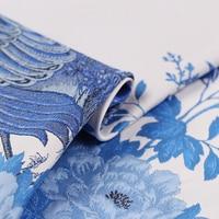CF428 The New High Grade White Blue Peacock Jacquard Brocade Fashion Fabric Thick Jacquard Dress Coat Fabric For Women's Dress