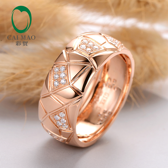 Caimao Jewelry 14kt Rose Gold Natural 0.24ct Diamond Ring Engagement Wedding Band