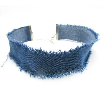 Original New Personality Blue Denim Choker Necklaces For Women Vintage Tassel Jeans Chocker Necklace Female Jewelry Gift
