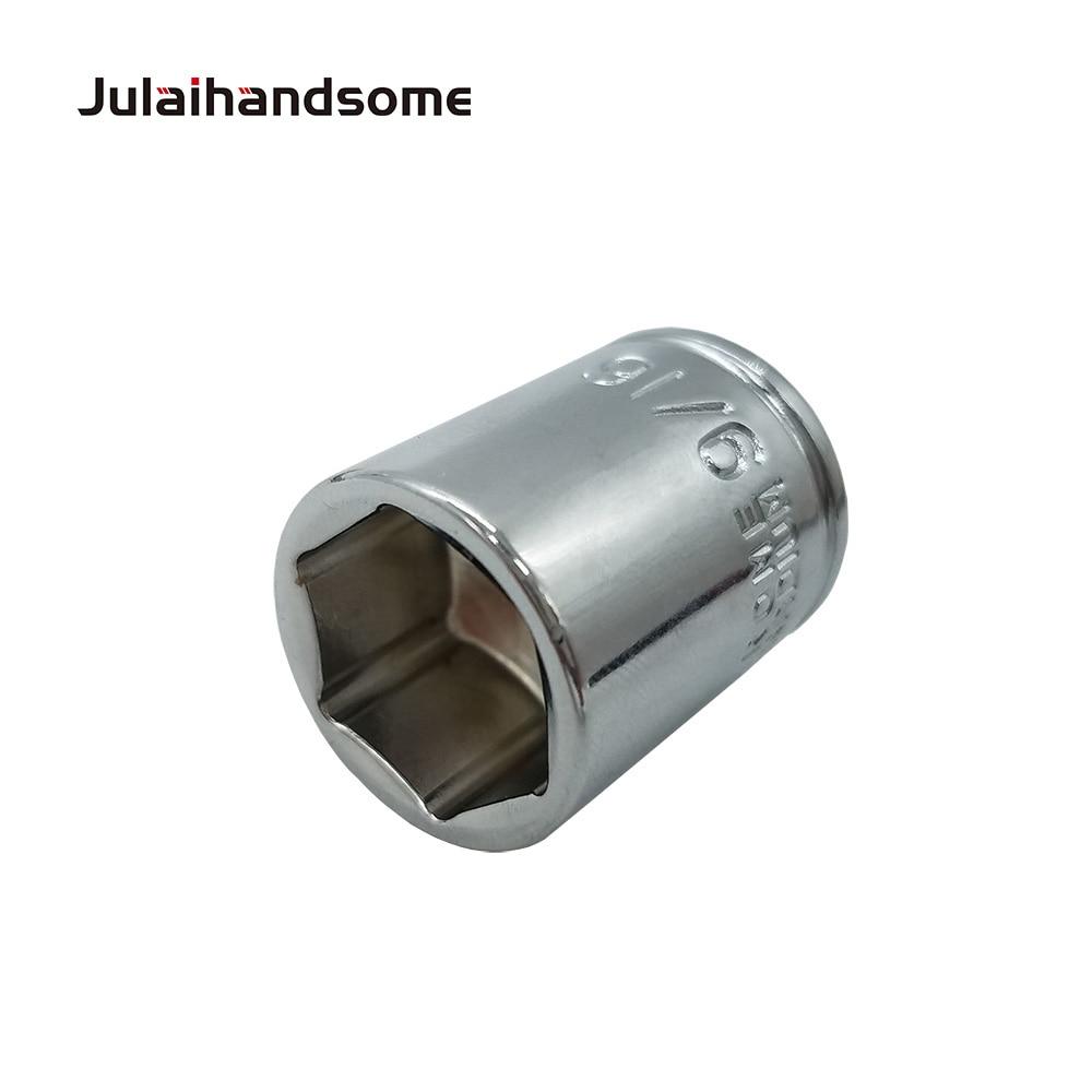 שליכט אקרילי Julaihandsome 12PC 1/4 אינץ SAE Sockets Set 5/32 3/16 7/32 1/4 9/32 5/16 11/32 3/8 7/16 15/32 1/2 9/16 סט כלי CRV 25mm יד (5)