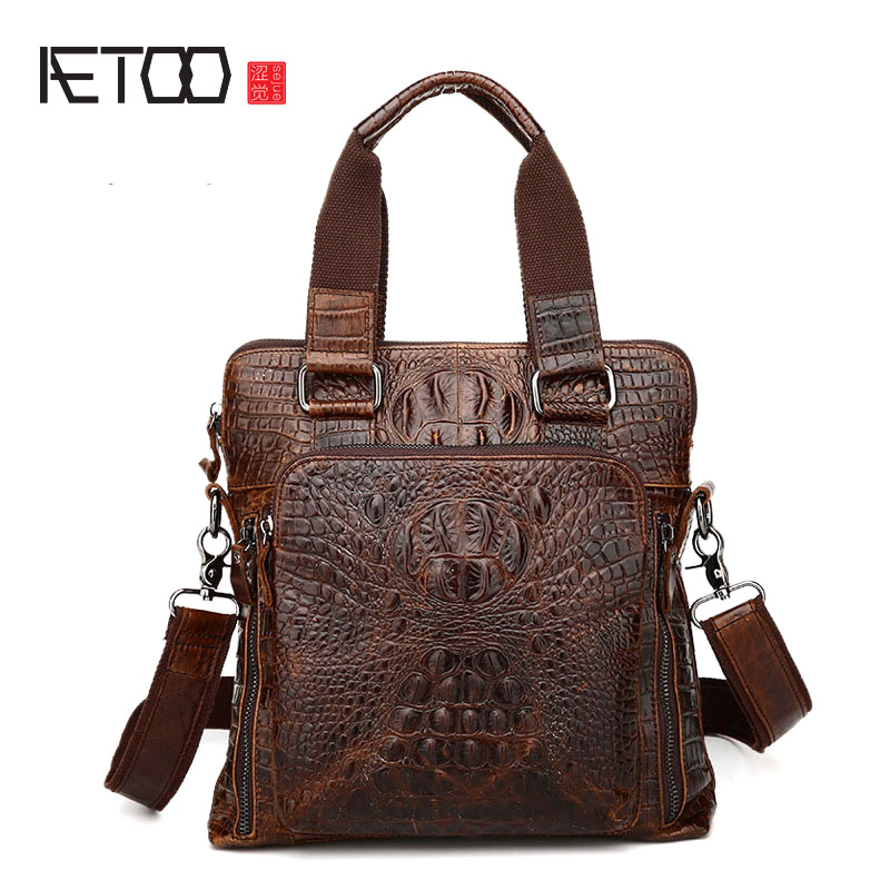 AETOO new crocodile leather man bag men s business fashion leather handbag shoulder messenger bag men
