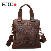 AETOO new crocodile leather man bag men's business fashion leather handbag shoulder messenger bag men