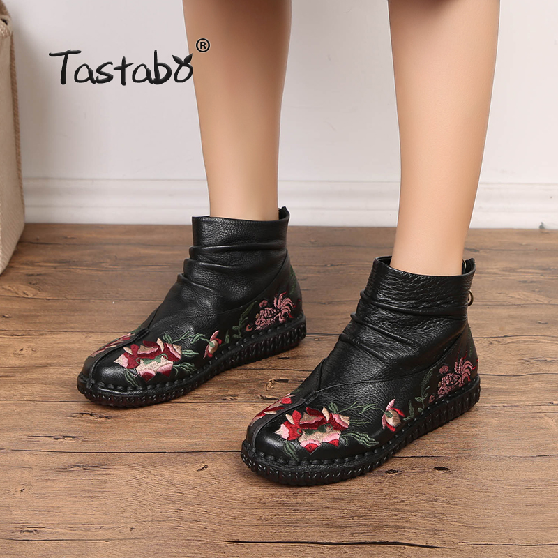 Tastabo Ankle Boots for Women Casual Solid Black Round Toe Boots Ladies Mom Mother Shoes Flats shoes woman botas mujer стоимость