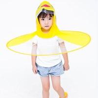 Ufo 어린이 우산 귀여운 노란색 오리 비 커버 우산 핸들없이 어린이 우산에 대 한 방수 아기 우산 모자