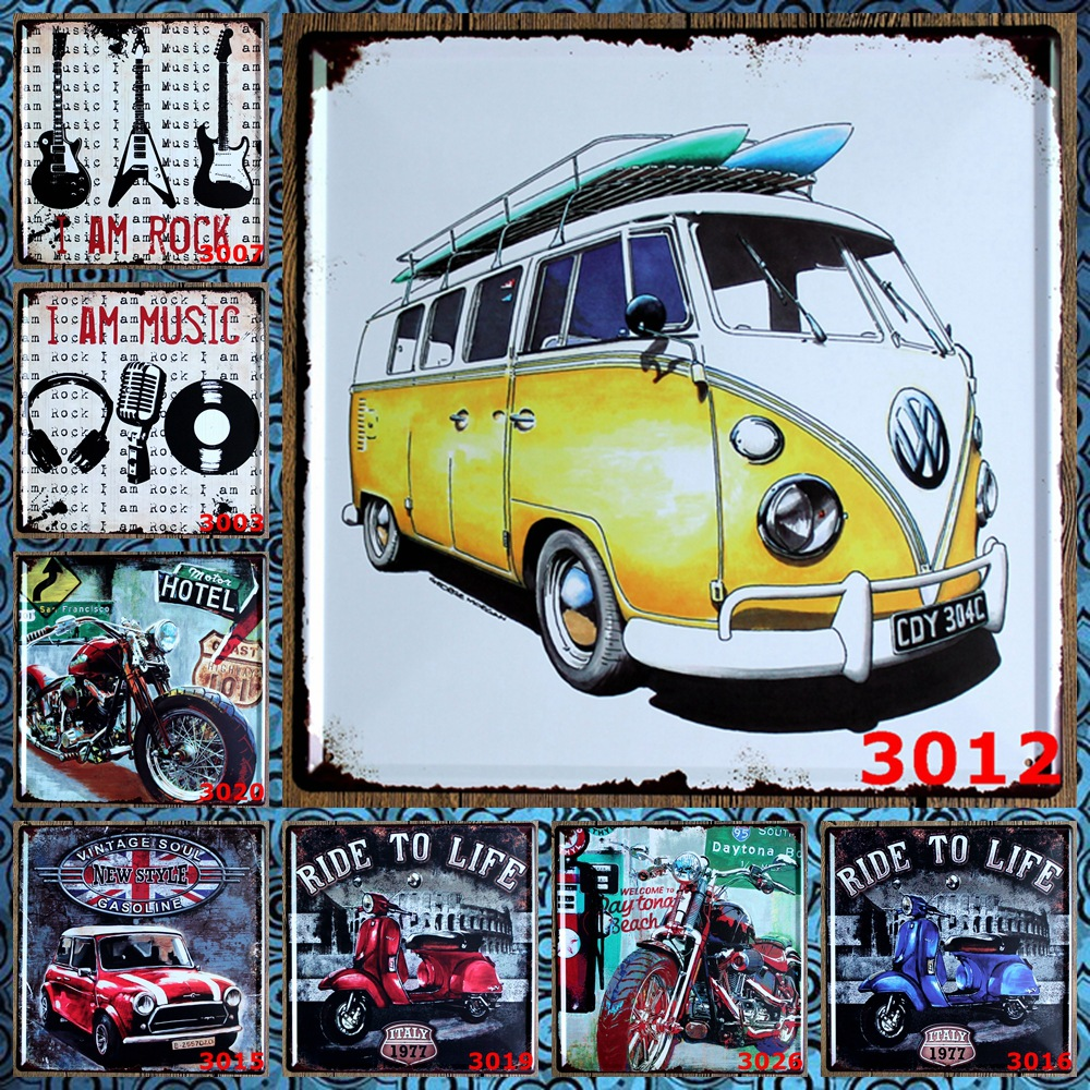 premium popular famous brand vw car antique retro metal tin signs wall art painting poster. Black Bedroom Furniture Sets. Home Design Ideas