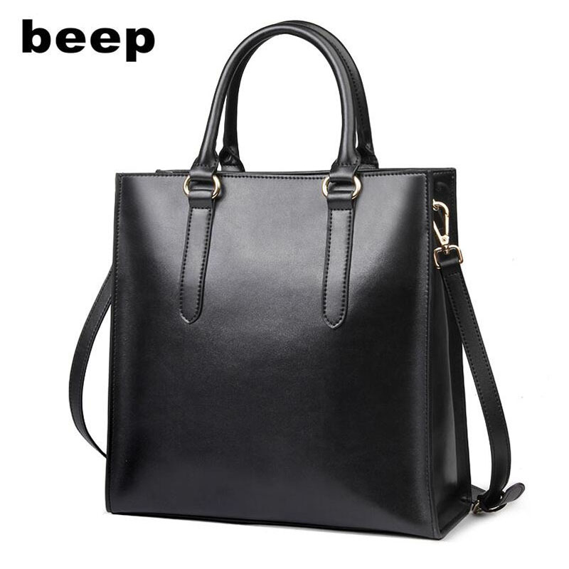 Beep 2018 New Superior cowhide Luxury fashion women Leather bag Simple tote women leather shoulder bag  women's bag beep beep go to sleep