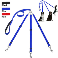 Three Way Tangle Free Dog Leash With Adjustable Triple Detachable Dog Coupler For One Two Three