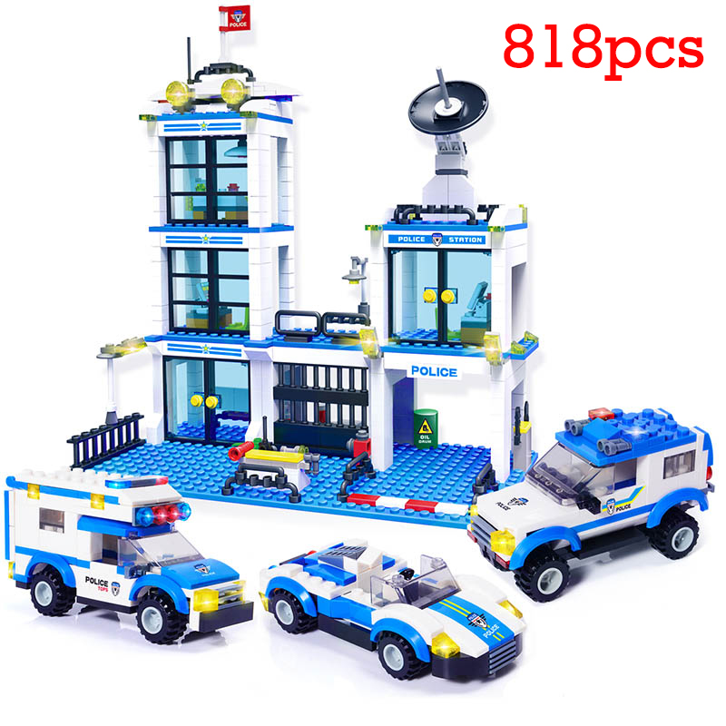 City Police Station 818pcs SWAT Building Blocks Compatible LegoING Boys Friends Bricks Figures Kids Toys for