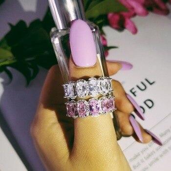 1bb03c7b92d8 De los productos reales real 925 plata esterlina de boda diamante anillo  anillos boda banda de la eternidad para las mujeres de novia compromiso  especial ...