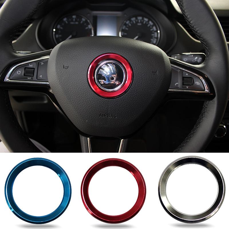 Car Styling Steering Wheel Logo Emblems Ring Decoration Sticker For Skoda Octavia 2 A5 A7 Rapid