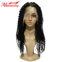 Али удивительные волосы 350% плотность Бразильский Glueless Синтетические волосы на кружеве парики странный вьющиеся человеческих волос парики
