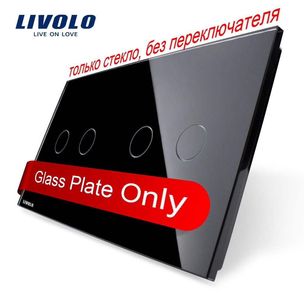 Livolo жемчужный черный, 151 мм * 80 мм, Стандарт ес, Двойной стеклянная панель, Vl-c7-c2 / C2-12
