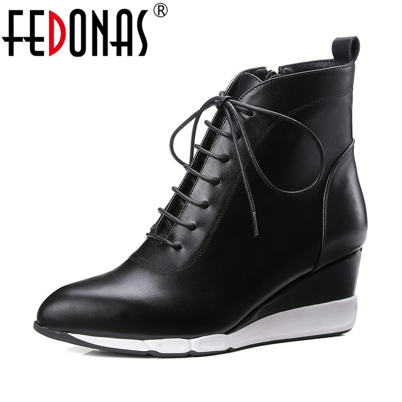FEDONAS New Ankle Boots Women Wedges High Heels Lace Up Autumn Winter Martin Shoes Woman Sexy Party Prom Pumps Casual Shoes