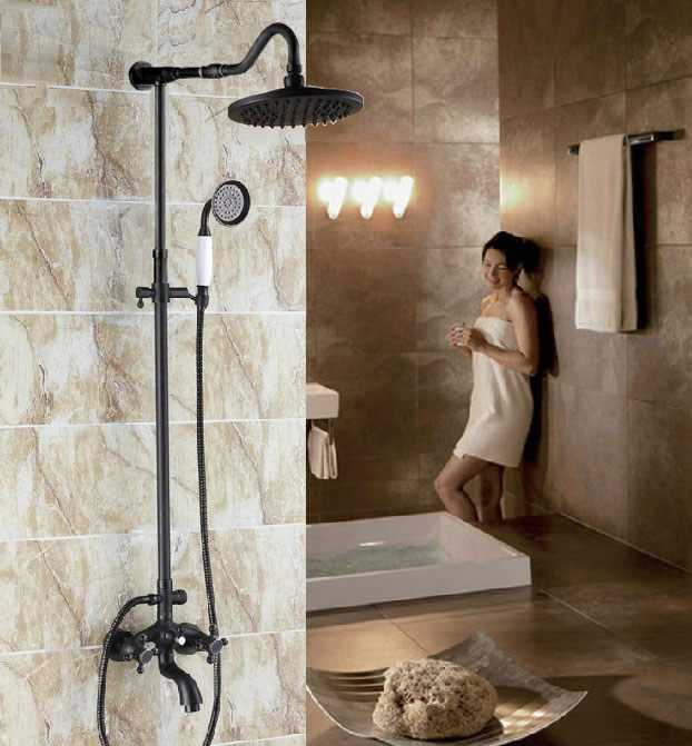 Black Oil Rubbed Bronze Wall Mounted Bathroom Rain Shower Faucet Set Dual Cross Handle Bath Tub Mixer Tap + Hand Shower Crs756