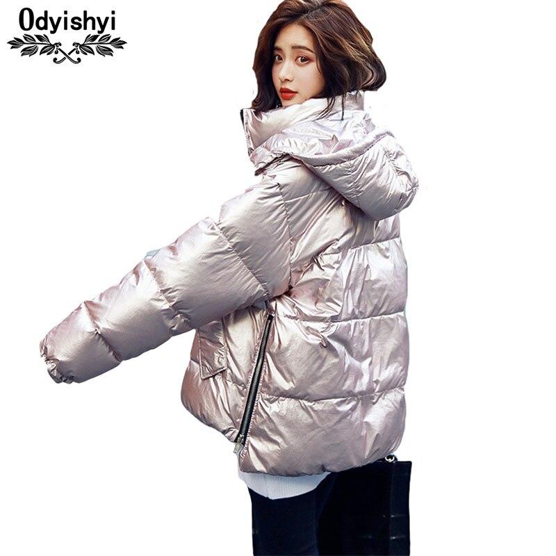 Kadın Giyim'ten Parkalar'de 2019 Kış Pamuk Ceket Kadın Moda Metalik Parlak Ceketler Kapşonlu Parkas Gevşek Kalınlaşmak iç astarlı ceket Kadın Hiver HS308'da  Grup 1