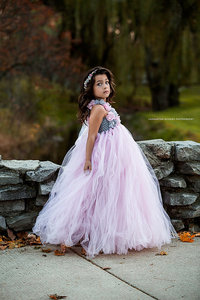 Image 4 - Rosa e Grigio Vestito Tutu Ragazza di Fiore di Cerimonia Nuziale di Tulle del Vestito Delle Ragazze Abiti Da Sposa Robe Demoiselle Rosa Delle Ragazze Dei Capretti Vestiti Vestito